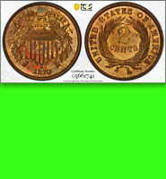 1870 PCGS PR64 RB 🔴 Non-Doctored 💜 $800 CU ◉Underrated PROOF Two Cent Piece 2c