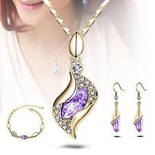 New Jewelry Set Perfect Pendant Drop Crystal Earring Necklace Bracelet purple #1