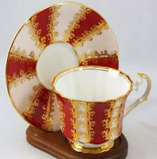 Vintage Elizabethan English Bone China Teacup and Saucer Red and Gold
