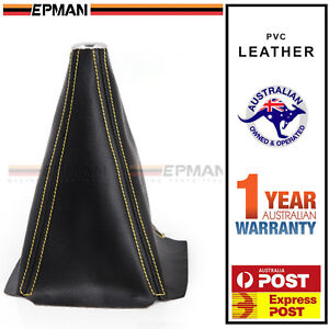 EPMAN Gear Shifter Boot Cover Black PVC Leather Yellow Stitch Skyline WRX EVO