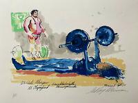 LEROY NEIMAN + OLYMPICS + HAND SIGNED + SERIGRAPH + A.P. LTD ED. OF 150 + COA