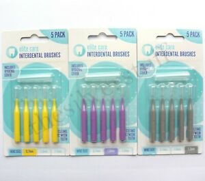 Interdental Brushes 5 Pack With Cover - Small 0.7mm, Medium 1.0mm, Large 1.2mm