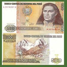 Peru P134b, 500 Intis, Tupac Amaru II /  mountain climber in Andes mountains UNC
