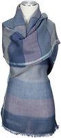 Schal Streifen Blau Wolle Seide scarf blue wool silk ècharpe foulard
