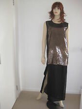 """SASS AND BIDE """"GET A LEG UP"""" SEQUINED SILK DRESS in Black Gold  RRP$490 size 10"""