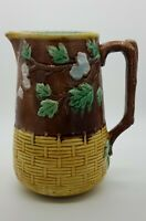 19th Century Yellow Basketweave And Apple Blossom Pitcher With Branch Handle