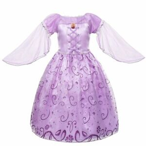 Rapunzel Dress Girl Party Costume Tulle Sleeve Fancy Carnival Princess Ball Gown