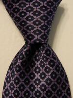 BRIONI Mens 100% Silk XL Necktie ITALY Luxury Designer Geometric Blue/Purple GUC