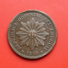 Uruguay: 2 Centesimos 1869, KM# 12,  #F 0523, S-F