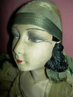 "ROARING TWENTIES,  27"" long, elegant French, GERB boudoir doll A/O & cloche hat"