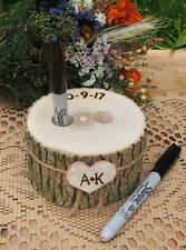 Wood PEN HOLDER~Guest Book~Wedding Table~Wood~Rustic Country Wedding~Brown