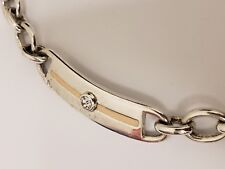 RARE! Tommy Hilfiger Stainless Steel Rhinestone & Enamel Accent 5 Link Necklace