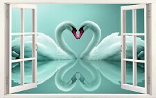 """Teal Swans Love Heart Shape Contemporary 16""""x20"""" Canvas Picture 3D Window Effect"""