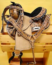 "12"" Leather Filigree Show Saddle Western Youth Headstall Breast Collar Black"