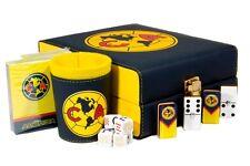 Aguilas Club America 3 in 1 Dominoes + Cubilete +2 Card Sets Casino Domino Poker