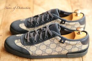 Gucci Blue Suede Monogram Trainers Sneakers Shoes UK 6 US 7