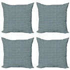 Ambesonne Vintage Art Cushion Cover Set of 4 for Couch and Bed in 4 Sizes