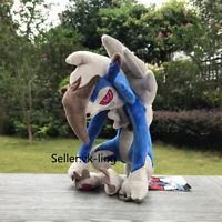 "Cool Shiny Midnight Lycanroc 10"" Blue Plush Toy Stuffed Animal Cartoon Soft Doll"