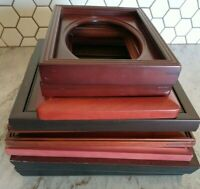 Vintage 9 Wood PICTURE FRAME Lot Recycle Arts Crafts Project Boho geo red tone
