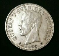 SWEDEN SVERIGES 1936-G Silver 2 Kronor KM# 787 XF ++