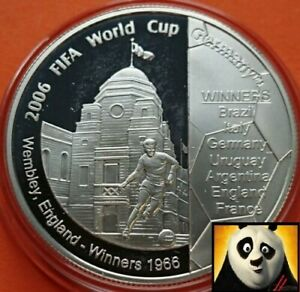 2006 GUERNSEY £5 Five Pound World Cup Wembley England Winners Silver Proof Coin