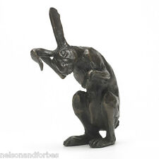 Bronze Hare Sculpture. Solid Bronze Hare Washing Ear by Sue Maclaurin