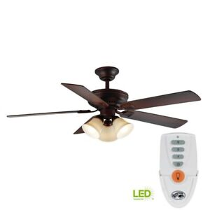 Hampton Bay Campbell 52 in. Mediterranean Bronze Ceiling Fan with Light & Remote
