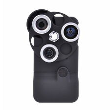 Plastic Dial Case 4in1 Camera Lens Wide+Macro+Fisheye+Telephoto for iPhone 4/4S
