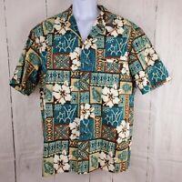 Mens Hawaiian Shirt XL Royal Creations Tapa-print Teal Brown Fish Flower Turtle