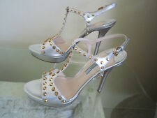 Prada Silver Metallic Saffiano Leather T-strap Gold studed Sandals 40 Us 39 $950