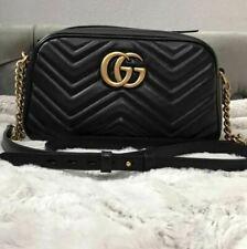 GUCCI GG Women's marmont matellasse Black leather shoulder Bag