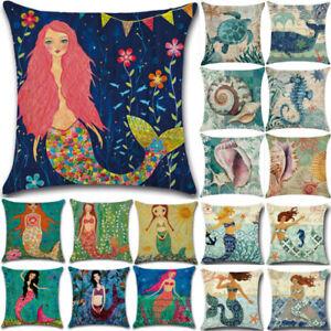 Nautical Sea-maid Cushion Cover Turtle Whale Mermaid Pillow Case Sofa Decors NEW