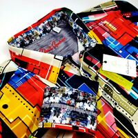 Robert Graham Geometric Vibrant Colorful Print 2XL Jacquard Sport Shirt