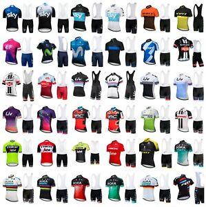 Mens Cycling Jersey Short Sleeve Biking Top Breathable Fabric Free Bib Shorts