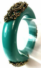 ELEGANT TEAL TRIBAL LARGE CHUNKY STATEMENT BANGLE BRONZE DESIGN BRAND NEW (CL2)