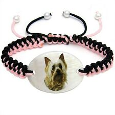 Australian Silky Terrier Natural Mother Of Pearl Adjustable Knot Bracelet Bs78