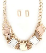 Gold Silver Copper Rectangle Textured Metal Bead ChainLink Necklace/Earring Set
