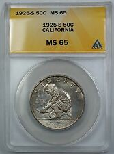 1925-S California Commemorative Silver Half Dollar ANACS MS 65 Toned