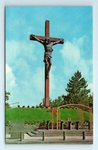 Catholic Shrine Indian River Michigan Postcard Largest Wood & Bronze Crucifix