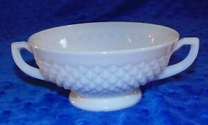 Vintage Westmoreland Milk Glass Footed Double Handled Bowl Hobnail Smooth Rim