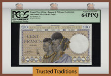 TT PK 23 1936-41 FRENCH WEST AFRICA 100 FRANCS PROOF PCGS 64 PPQ FINEST KNOWN!