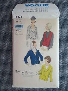 Vogue pattern 6233, Jacket & Vest. Size 14. Vintage 1960s. Uncut, factory folds.
