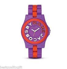 NEW MARC JACOBS PURPLE & RED ACRYLIC+SILICONE RIVERA DIAL WATCH-MBM4554