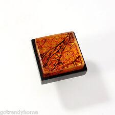 Metallic Golden Orange Crystal Glass Cabinet Black Metal Knob Drawer Pull Square
