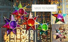 MOROCCAN STYLE STAR HANGING GLASS LANTERN (TEALIGHT HOLDER), COLOUR/STYLE CHOICE