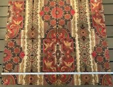 Cotton Linear Layout Medieval Feel Print, French Antique Textile 1870's