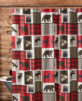 "LODGE LIFE WILDLIFE 72"" SHOWER CURTAIN HOOKS BLACK BEAR MOOSE RED BUFFALO CHECK"