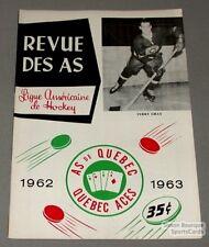 1962-63 AHL Quebec Aces Program Terry Gray Cover