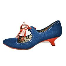 Irregular Choice Blue Denim Ribbon Lace Mary Jane Red Kitten Heel Shoes 4 37