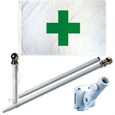 Green Cross White 3 x 5 FT Flag + 6 Ft Spinning Tangle Free Pole + Bracket